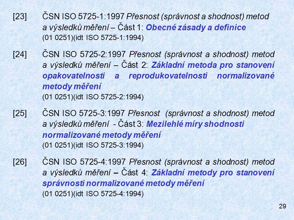 29 [23]ČSN ISO 5725-1:1997 Přesnost (správnost a shodnost) metod a výsledků měření – Část 1: Obecné zásady a definice (01 0251)(idt ISO 5725-1:1994) [24]ČSN ISO 5725-2:1997 Přesnost (správnost a shodnost) metod a výsledků měření – Část 2: Základní metoda pro stanovení opakovatelnosti a reprodukovatelnosti normalizované metody měření (01 0251)(idt ISO 5725-2:1994) [25]ČSN ISO 5725-3:1997 Přesnost (správnost a shodnost) metod a výsledků měření - Část 3: Mezilehlé míry shodnosti normalizované metody měření (01 0251)(idt ISO 5725-3:1994) [26]ČSN ISO 5725-4:1997 Přesnost (správnost a shodnost) metod a výsledků měření – Část 4: Základní metody pro stanovení správnosti normalizované metody měření (01 0251)(idt ISO 5725-4:1994)