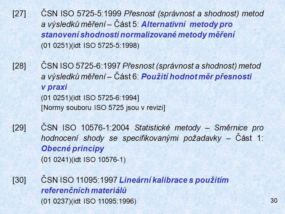 30 [27]ČSN ISO 5725-5:1999 Přesnost (správnost a shodnost) metod a výsledků měření – Část 5: Alternativní metody pro stanovení shodnosti normalizované metody měření (01 0251)(idt ISO 5725-5:1998) [28]ČSN ISO 5725-6:1997 Přesnost (správnost a shodnost) metod a výsledků měření – Část 6: Použití hodnot měr přesnosti v praxi (01 0251)(idt ISO 5725-6:1994   Normy souboru ISO 5725 jsou v revizi  [29]ČSN ISO 10576-1:2004 Statistické metody – Směrnice pro hodnocení shody se specifikovanými požadavky – Část 1: Obecné principy ( 01 0241)(idt ISO 10576-1) [30]ČSN ISO 11095:1997 Lineární kalibrace s použitím referenčních materiálů (01 0237)(idt ISO 11095:1996)