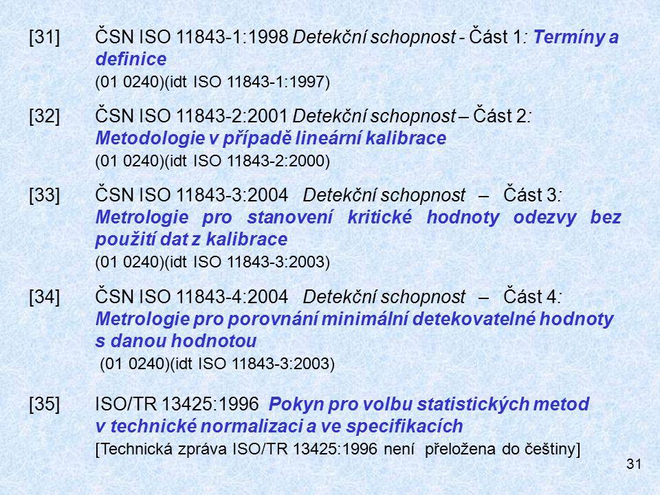 31 [31]ČSN ISO 11843-1:1998 Detekční schopnost - Část 1: Termíny a definice (01 0240)(idt ISO 11843-1:1997) [32]ČSN ISO 11843-2:2001 Detekční schopnost – Část 2: Metodologie v případě lineární kalibrace (01 0240)(idt ISO 11843-2:2000) [33]ČSN ISO 11843-3:2004 Detekční schopnost – Část 3: Metrologie pro stanovení kritické hodnoty odezvy bez použití dat z kalibrace (01 0240)(idt ISO 11843-3:2003) [34]ČSN ISO 11843-4:2004 Detekční schopnost – Část 4: Metrologie pro porovnání minimální detekovatelné hodnoty s danou hodnotou (01 0240)(idt ISO 11843-3:2003) [35]ISO/TR 13425:1996 Pokyn pro volbu statistických metod v technické normalizaci a ve specifikacích  Technická zpráva ISO/TR 13425:1996 není přeložena do češtiny 