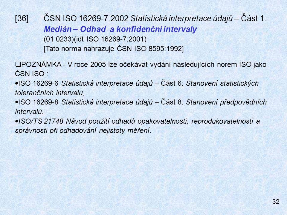 32 [36]ČSN ISO 16269-7:2002 Statistická interpretace údajů – Část 1: Medián – Odhad a konfidenční intervaly (01 0233)(idt ISO 16269-7:2001) [Tato norma nahrazuje ČSN ISO 8595:1992]  POZNÁMKA - V roce 2005 lze očekávat vydání následujících norem ISO jako ČSN ISO :  ISO 16269-6 Statistická interpretace údajů – Část 6: Stanovení statistických tolerančních intervalů,  ISO 16269-8 Statistická interpretace údajů – Část 8: Stanovení předpovědních intervalů.