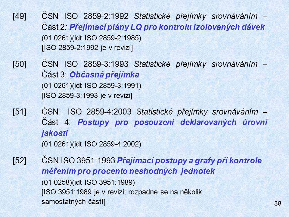 38 [49]ČSN ISO 2859-2:1992 Statistické přejímky srovnáváním – Část 2: Přejímací plány LQ pro kontrolu izolovaných dávek (01 0261)(idt ISO 2859-2:1985)  ISO 2859-2:1992 je v revizi  [50]ČSN ISO 2859-3:1993 Statistické přejímky srovnáváním – Část 3: Občasná přejímka (01 0261)(idt ISO 2859-3:1991) [ISO 2859-3:1993 je v revizi] [51]ČSN ISO 2859-4:2003 Statistické přejímky srovnáváním – Část 4: Postupy pro posouzení deklarovaných úrovní jakosti (01 0261)(idt ISO 2859-4:2002) [52]ČSN ISO 3951:1993 Přejímací postupy a grafy při kontrole měřením pro procento neshodných jednotek (01 0258)(idt ISO 3951:1989) [ISO 3951:1989 je v revizi; rozpadne se na několik samostatných částí]