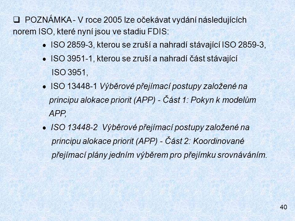 40  POZNÁMKA - V roce 2005 lze očekávat vydání následujících norem ISO, které nyní jsou ve stadiu FDIS:  ISO 2859-3, kterou se zruší a nahradí stávající ISO 2859-3,  ISO 3951-1, kterou se zruší a nahradí část stávající ISO 3951,  ISO 13448-1 Výběrové přejímací postupy založené na principu alokace priorit (APP) - Část 1: Pokyn k modelům APP,  ISO 13448-2 Výběrové přejímací postupy založené na principu alokace priorit (APP) - Část 2: Koordinované přejímací plány jedním výběrem pro přejímku srovnáváním.
