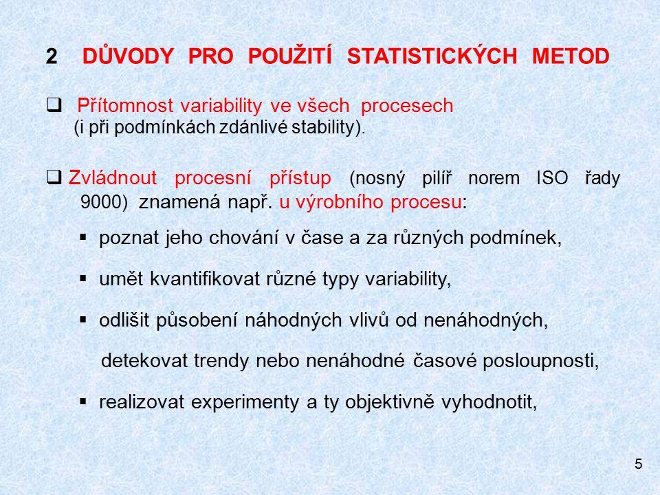5 2 DŮVODY PRO POUŽITÍ STATISTICKÝCH METOD  Přítomnost variability ve všech procesech (i při podmínkách zdánlivé stability).