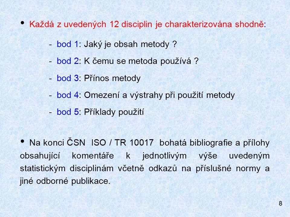 8 Každá z uvedených 12 disciplin je charakterizována shodně: - bod 1: Jaký je obsah metody .