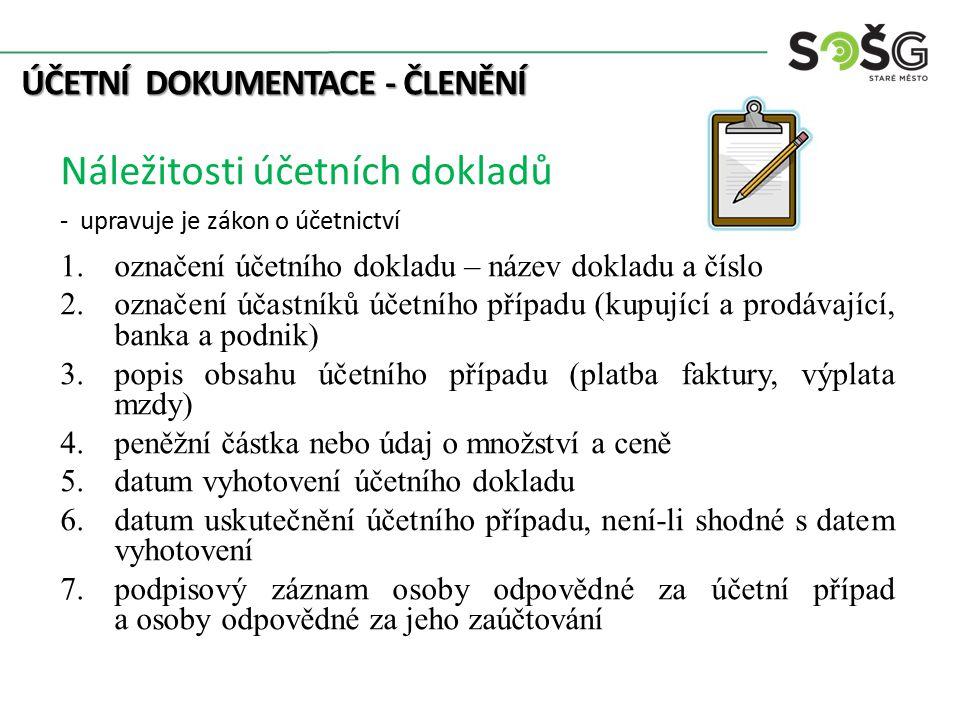 ÚČETNÍ DOKUMENTACE - ČLENĚNÍ Náležitosti účetních dokladů - upravuje je zákon o účetnictví 1.označení účetního dokladu – název dokladu a číslo 2.označ