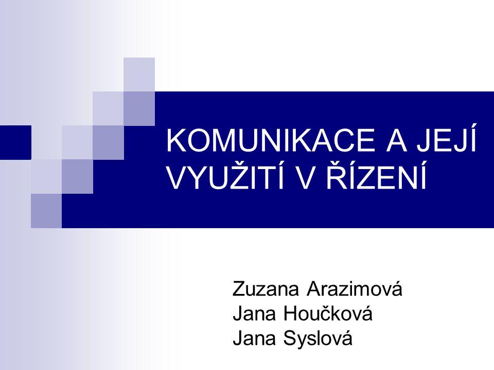 Zuzana Arazimová Jana Houčková Jana Syslová KOMUNIKACE A JEJÍ VYUŽITÍ V ŘÍZENÍ