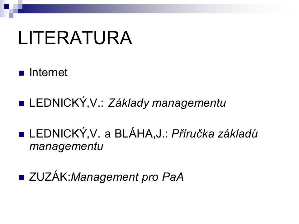 LITERATURA Internet LEDNICKÝ,V.: Základy managementu LEDNICKÝ,V. a BLÁHA,J.: Příručka základů managementu ZUZÁK:Management pro PaA