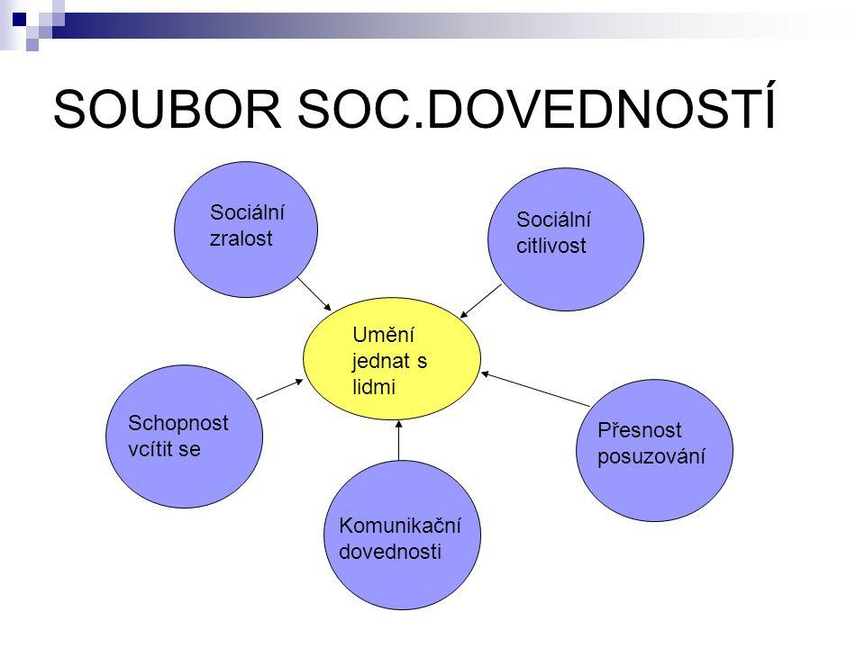 SOUBOR SOC.DOVEDNOSTÍ Umění jednat s lidmi Sociální zralost Schopnost vcítit se Komunikační dovednosti Přesnost posuzování Sociální citlivost
