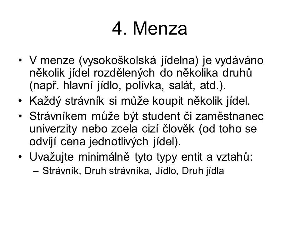 4. Menza V menze (vysokoškolská jídelna) je vydáváno několik jídel rozdělených do několika druhů (např. hlavní jídlo, polívka, salát, atd.). Každý str