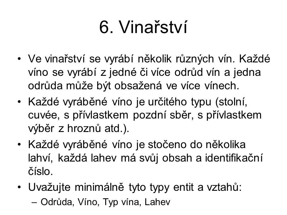 6. Vinařství Ve vinařství se vyrábí několik různých vín. Každé víno se vyrábí z jedné či více odrůd vín a jedna odrůda může být obsažená ve více vínec