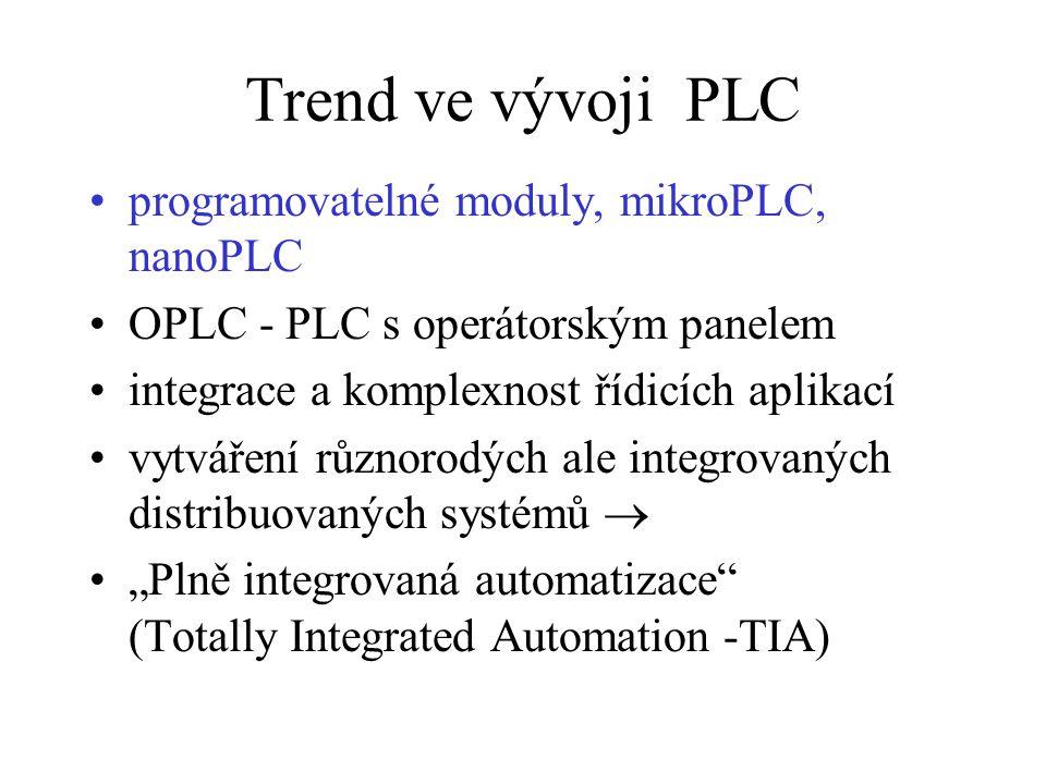 """Trend ve vývoji PLC programovatelné moduly, mikroPLC, nanoPLC OPLC - PLC s operátorským panelem integrace a komplexnost řídicích aplikací vytváření různorodých ale integrovaných distribuovaných systémů  """"Plně integrovaná automatizace (Totally Integrated Automation -TIA)"""