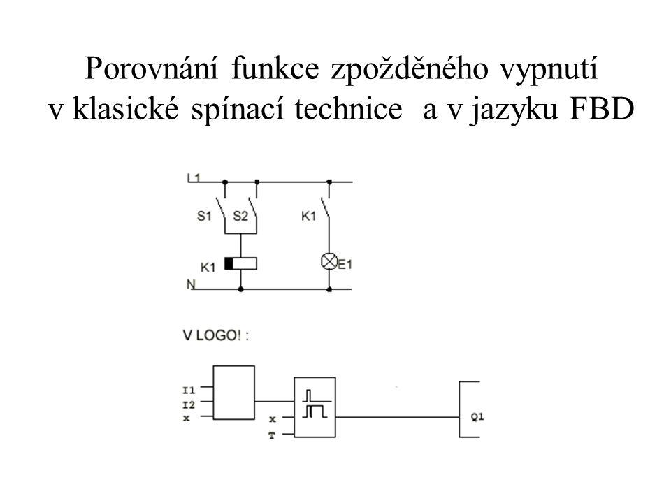 Porovnání funkce zpožděného vypnutí v klasické spínací technice a v jazyku FBD