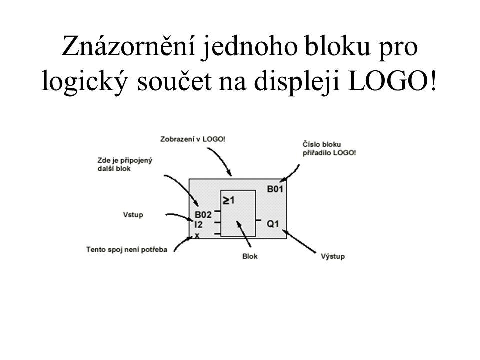 Znázornění jednoho bloku pro logický součet na displeji LOGO!