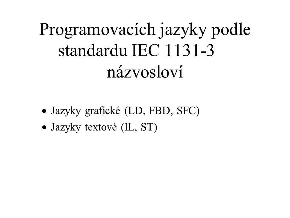 Grafické jazyky obecné symboly společné jazyku LD, FBD, a případně i SFC (vodorovné a svislé úsečky, kolmé úsečky s propojením a bez něj, rohové útvary, bloky a konektory) speciální symboly příčky (networks), sítě a pravidla jejich vyhodnocování