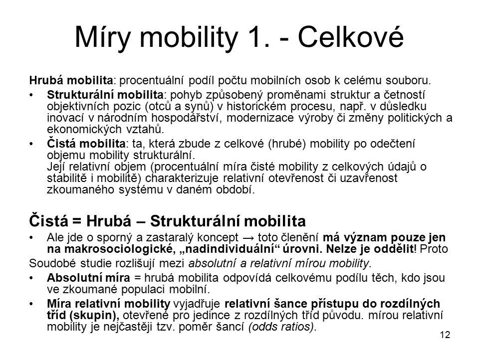 12 Míry mobility 1. - Celkové Hrubá mobilita: procentuální podíl počtu mobilních osob k celému souboru. Strukturální mobilita: pohyb způsobený proměna