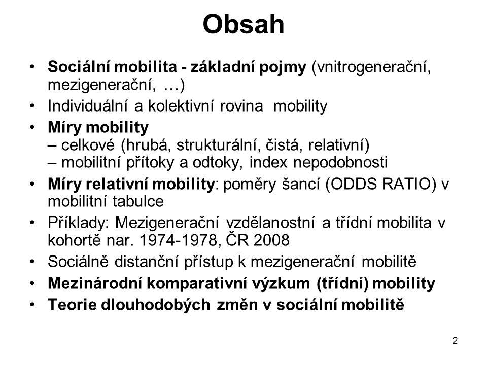 2 Obsah Sociální mobilita - základní pojmy (vnitrogenerační, mezigenerační, …) Individuální a kolektivní rovina mobility Míry mobility – celkové (hrub
