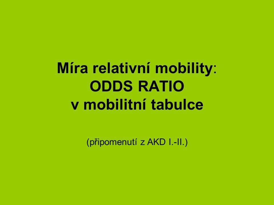 Míra relativní mobility: ODDS RATIO v mobilitní tabulce (připomenutí z AKD I.-II.)