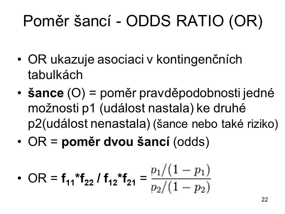 22 Poměr šancí - ODDS RATIO (OR) OR ukazuje asociaci v kontingenčních tabulkách šance (O) = poměr pravděpodobnosti jedné možnosti p1 (událost nastala)