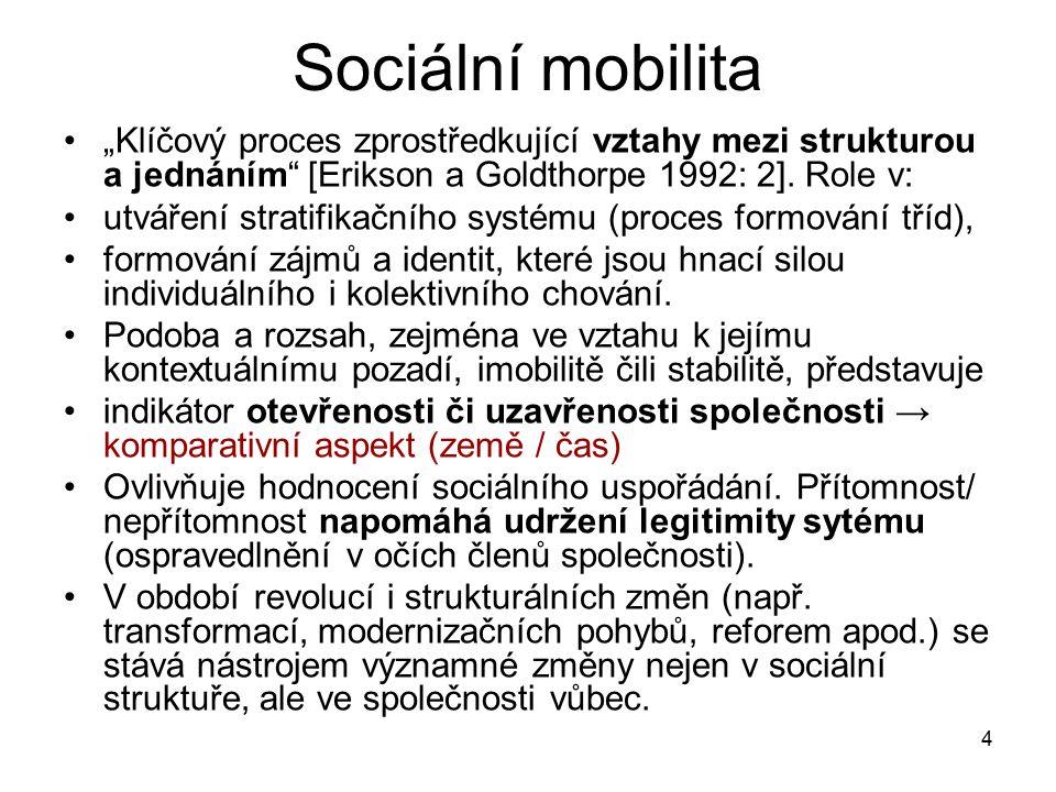 """4 Sociální mobilita """"Klíčový proces zprostředkující vztahy mezi strukturou a jednáním"""" [Erikson a Goldthorpe 1992: 2]. Role v: utváření stratifikačníh"""