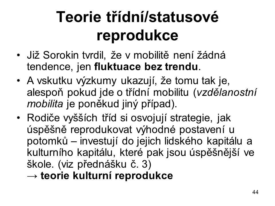 44 Teorie třídní/statusové reprodukce Již Sorokin tvrdil, že v mobilitě není žádná tendence, jen fluktuace bez trendu. A vskutku výzkumy ukazují, že t