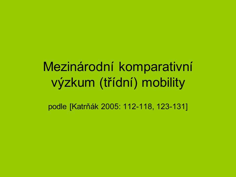 Mezinárodní komparativní výzkum (třídní) mobility podle [Katrňák 2005: 112-118, 123-131]