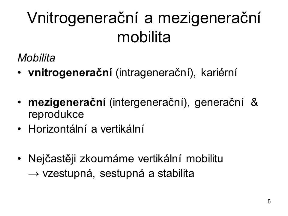 5 Vnitrogenerační a mezigenerační mobilita Mobilita vnitrogenerační (intragenerační), kariérní mezigenerační (intergenerační), generační & reprodukce