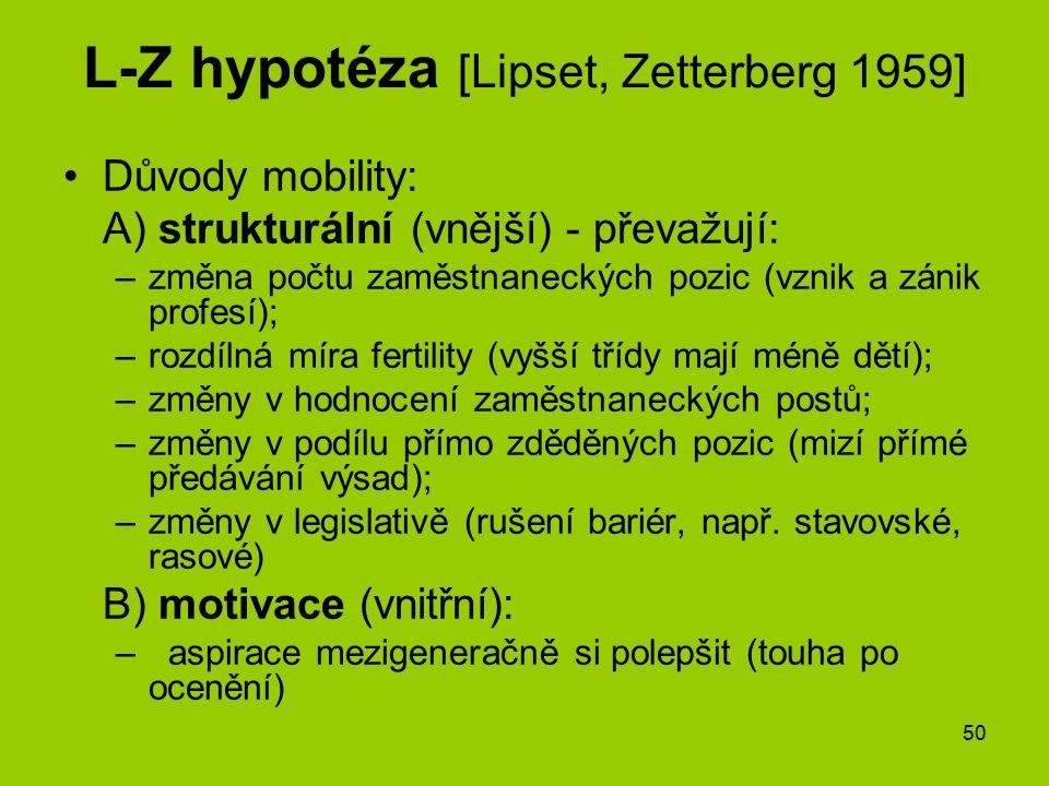 50 L-Z hypotéza [Lipset, Zetterberg 1959] Důvody mobility: A) strukturální (vnější) - převažují: –změna počtu zaměstnaneckých pozic (vznik a zánik pro