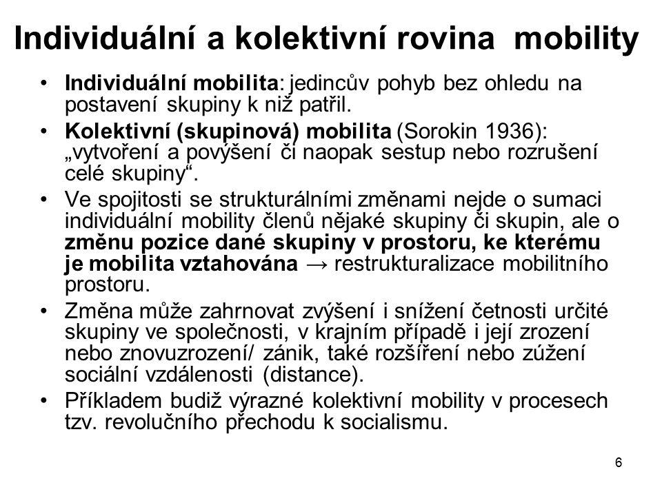 6 Individuální a kolektivní rovina mobility Individuální mobilita: jedincův pohyb bez ohledu na postavení skupiny k niž patřil. Kolektivní (skupinová)