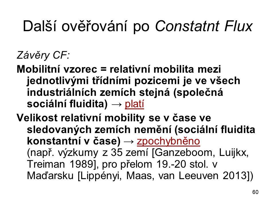 60 Další ověřování po Constatnt Flux Závěry CF: Mobilitní vzorec = relativní mobilita mezi jednotlivými třídními pozicemi je ve všech industriálních z