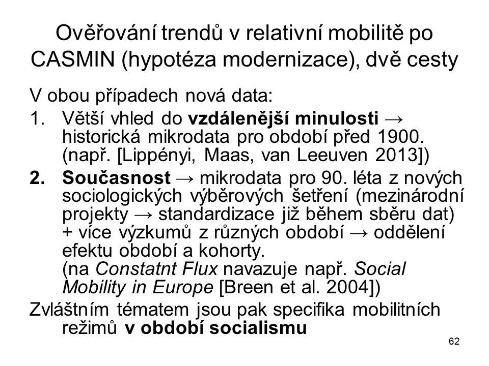 62 Ověřování trendů v relativní mobilitě po CASMIN (hypotéza modernizace), dvě cesty V obou případech nová data: 1.Větší vhled do vzdálenější minulost