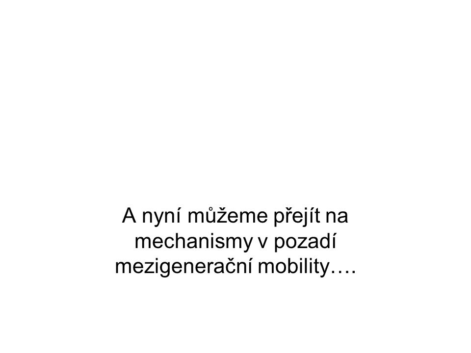 A nyní můžeme přejít na mechanismy v pozadí mezigenerační mobility….