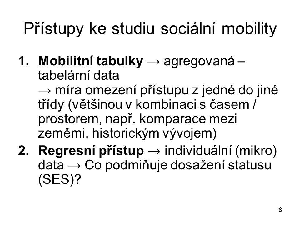 8 Přístupy ke studiu sociální mobility 1.Mobilitní tabulky → agregovaná – tabelární data → míra omezení přístupu z jedné do jiné třídy (většinou v kom