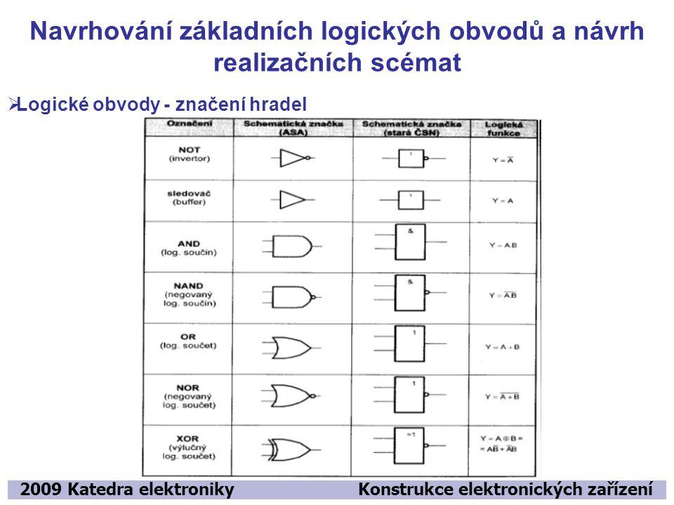 Navrhování základních logických obvodů a návrh realizačních scémat 2009 Katedra elektroniky Konstrukce elektronických zařízení  Logické obvody - znač