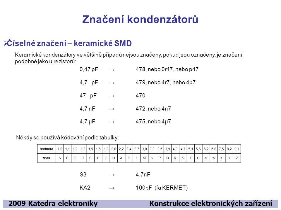 Značení kondenzátorů 2009 Katedra elektroniky Konstrukce elektronických zařízení  Číselné značení – keramické SMD Keramické kondenzátory ve většině p