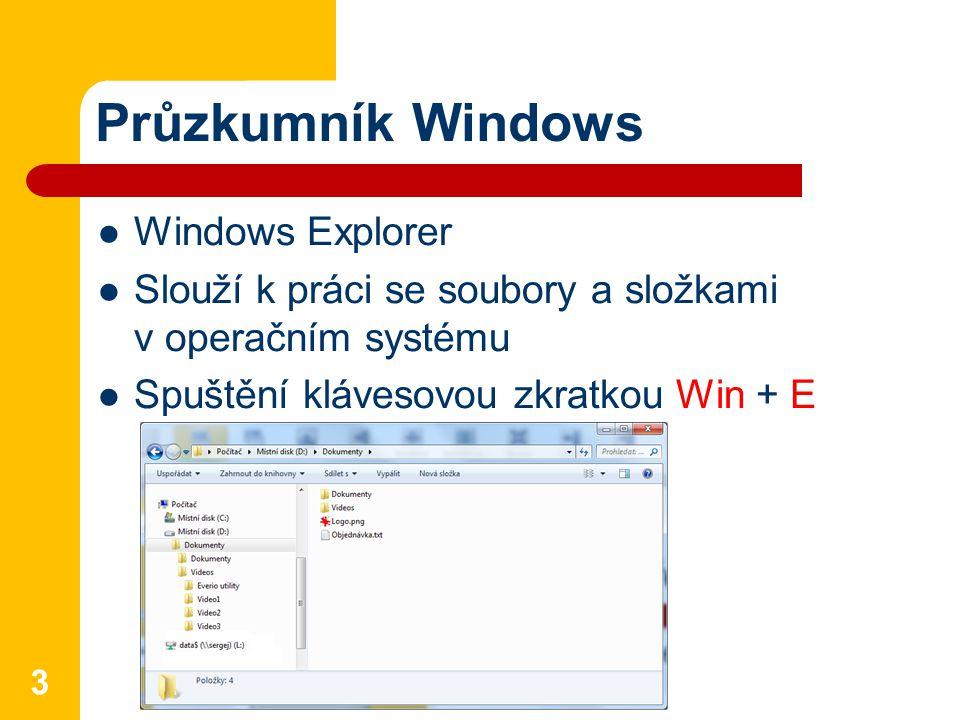 Průzkumník Windows Windows Explorer Slouží k práci se soubory a složkami v operačním systému Spuštění klávesovou zkratkou Win + E 3