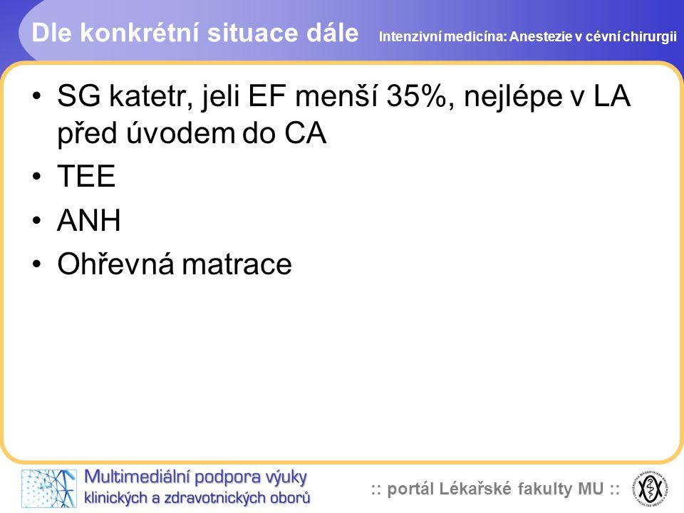 :: portál Lékařské fakulty MU :: Dle konkrétní situace dále SG katetr, jeli EF menší 35%, nejlépe v LA před úvodem do CA TEE ANH Ohřevná matrace Inten