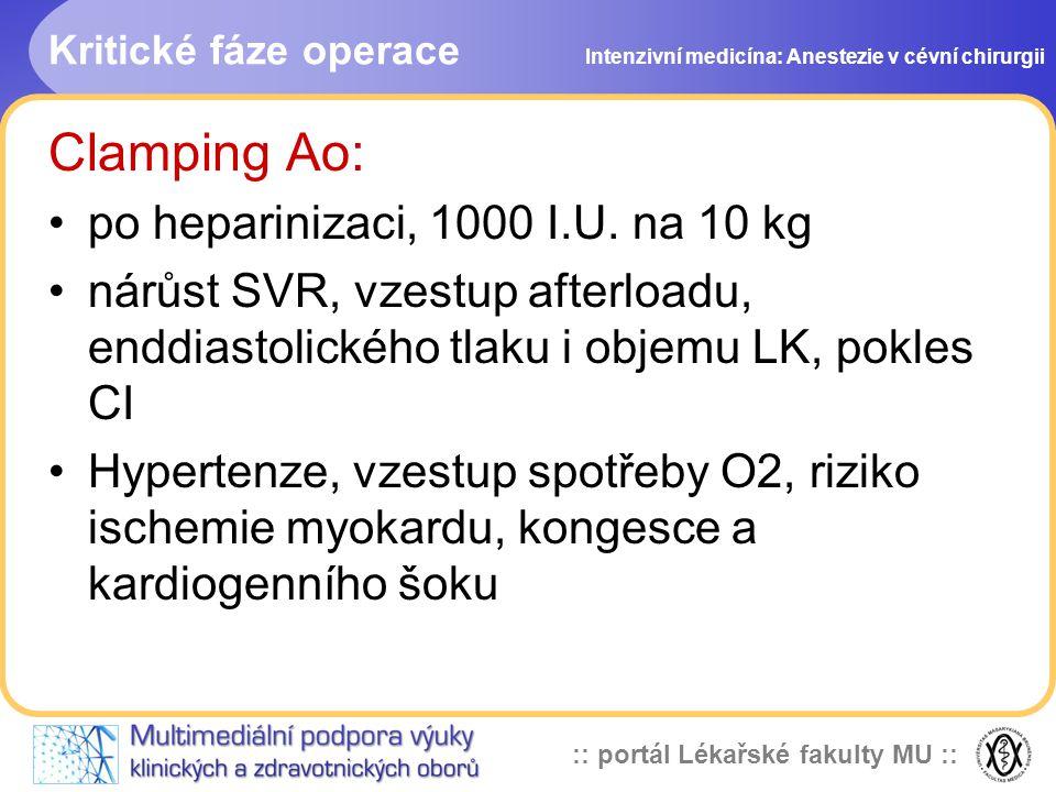 :: portál Lékařské fakulty MU :: Kritické fáze operace Clamping Ao: po heparinizaci, 1000 I.U. na 10 kg nárůst SVR, vzestup afterloadu, enddiastolické