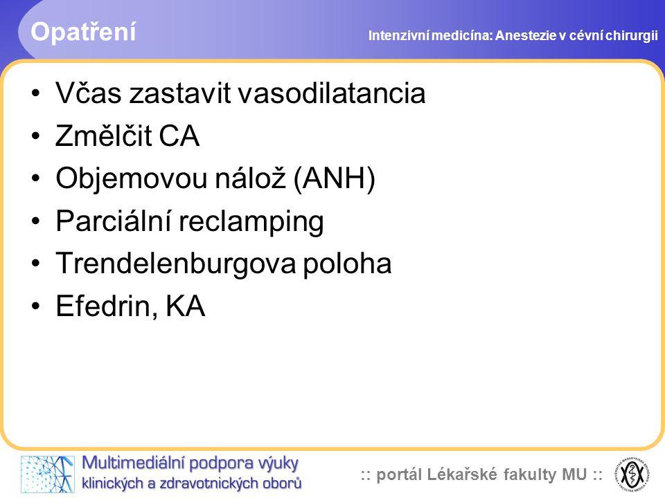:: portál Lékařské fakulty MU :: Opatření Včas zastavit vasodilatancia Změlčit CA Objemovou nálož (ANH) Parciální reclamping Trendelenburgova poloha E