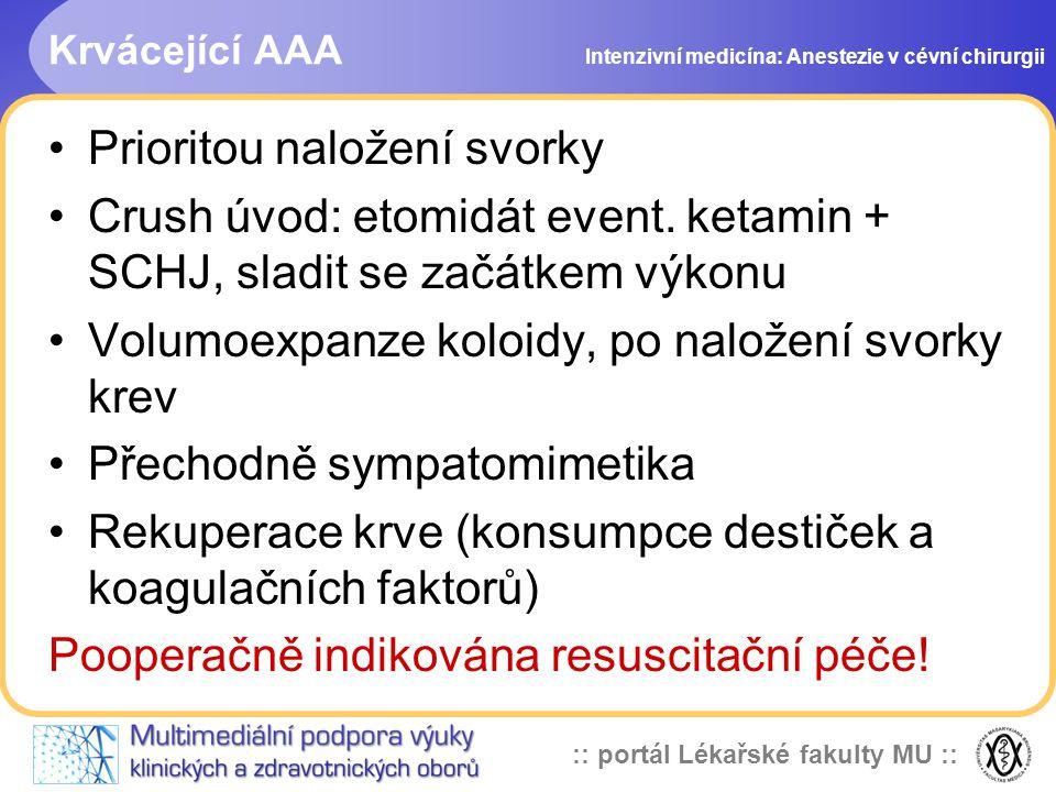 :: portál Lékařské fakulty MU :: Krvácející AAA Prioritou naložení svorky Crush úvod: etomidát event. ketamin + SCHJ, sladit se začátkem výkonu Volumo