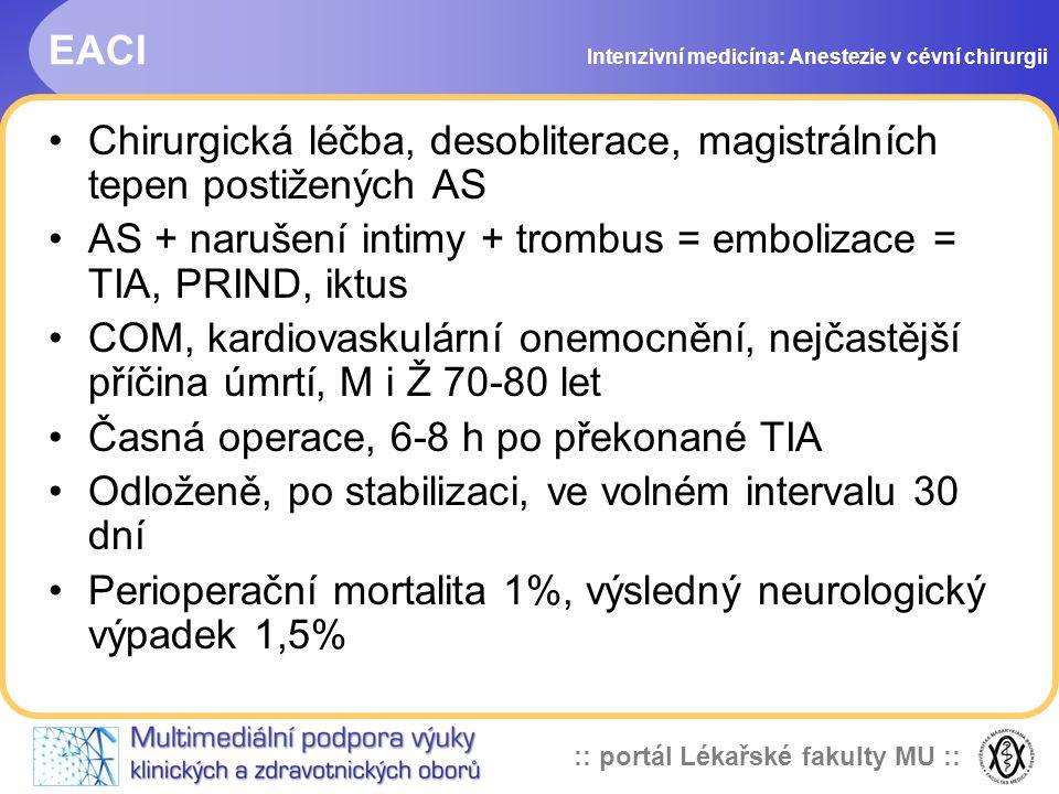 :: portál Lékařské fakulty MU :: EACI Chirurgická léčba, desobliterace, magistrálních tepen postižených AS AS + narušení intimy + trombus = embolizace