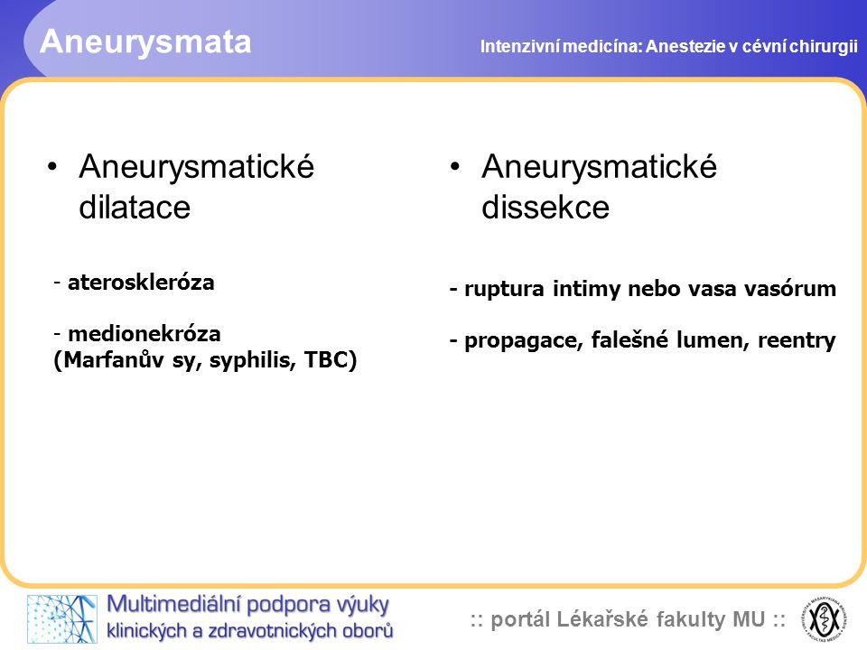 :: portál Lékařské fakulty MU :: Aneurysmata Intenzivní medicína: Anestezie v cévní chirurgii Aneurysmatické dilatace Aneurysmatické dissekce - ateros