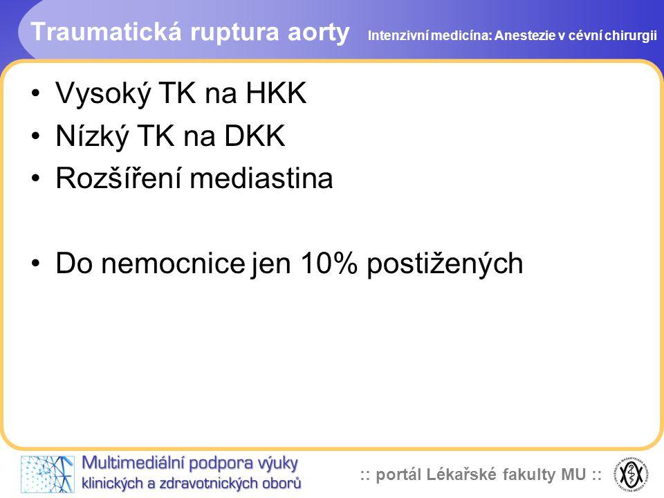 :: portál Lékařské fakulty MU :: Traumatická ruptura aorty Vysoký TK na HKK Nízký TK na DKK Rozšíření mediastina Do nemocnice jen 10% postižených Inte