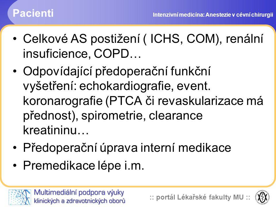 :: portál Lékařské fakulty MU :: Pacienti Celkové AS postižení ( ICHS, COM), renální insuficience, COPD… Odpovídající předoperační funkční vyšetření: