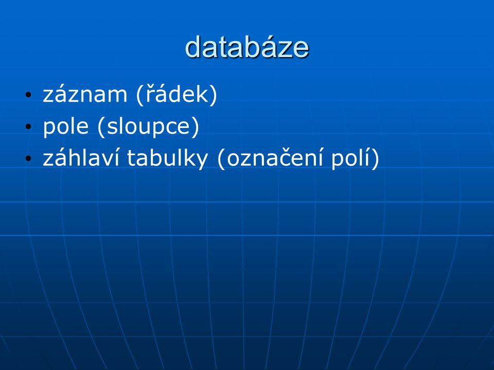 databáze záznam (řádek) pole (sloupce) záhlaví tabulky (označení polí)