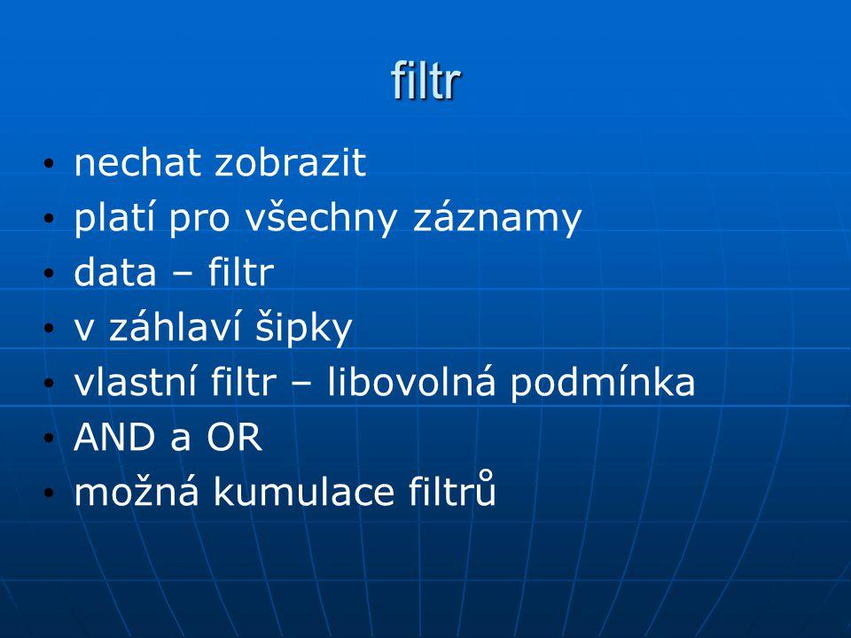 filtr nechat zobrazit platí pro všechny záznamy data – filtr v záhlaví šipky vlastní filtr – libovolná podmínka AND a OR možná kumulace filtrů