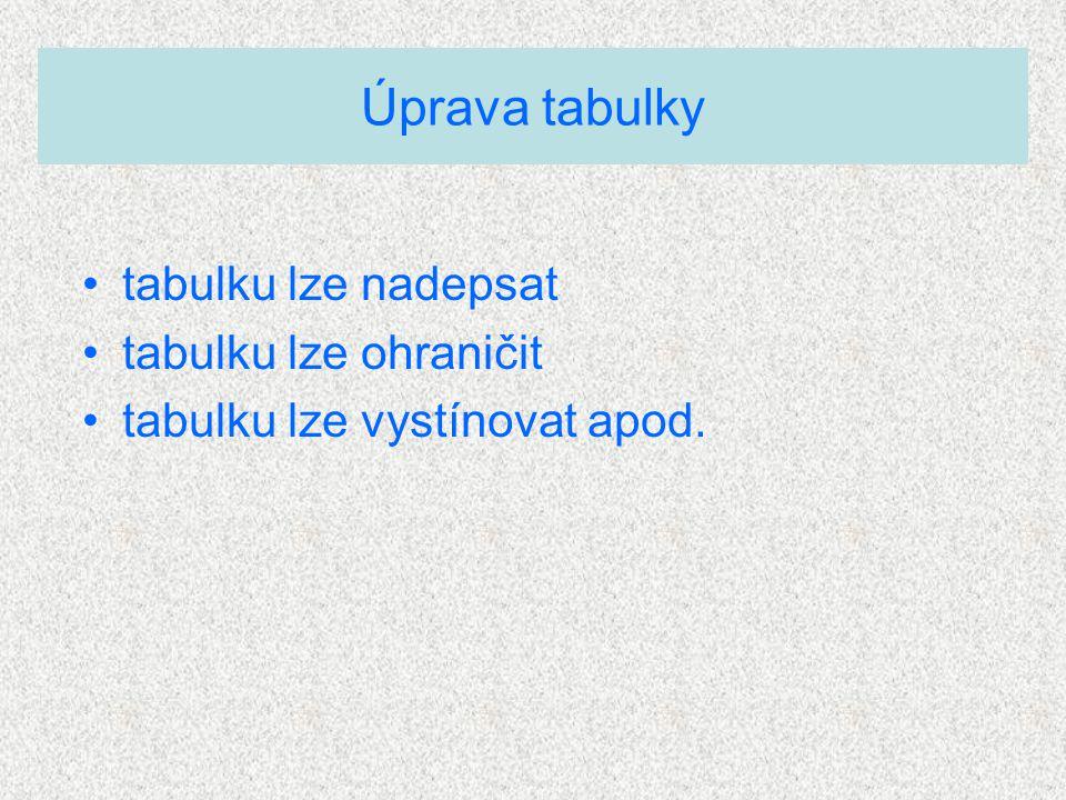 tabulku lze nadepsat tabulku lze ohraničit tabulku lze vystínovat apod. Úprava tabulky
