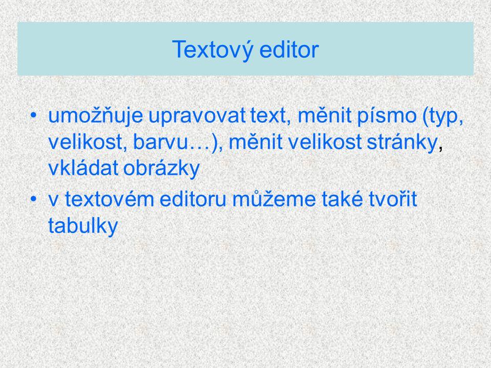 umožňuje upravovat text, měnit písmo (typ, velikost, barvu…), měnit velikost stránky, vkládat obrázky v textovém editoru můžeme také tvořit tabulky Textový editor