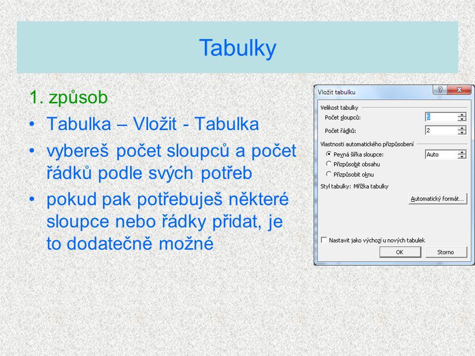 1. způsob Tabulka – Vložit - Tabulka vybereš počet sloupců a počet řádků podle svých potřeb pokud pak potřebuješ některé sloupce nebo řádky přidat, je