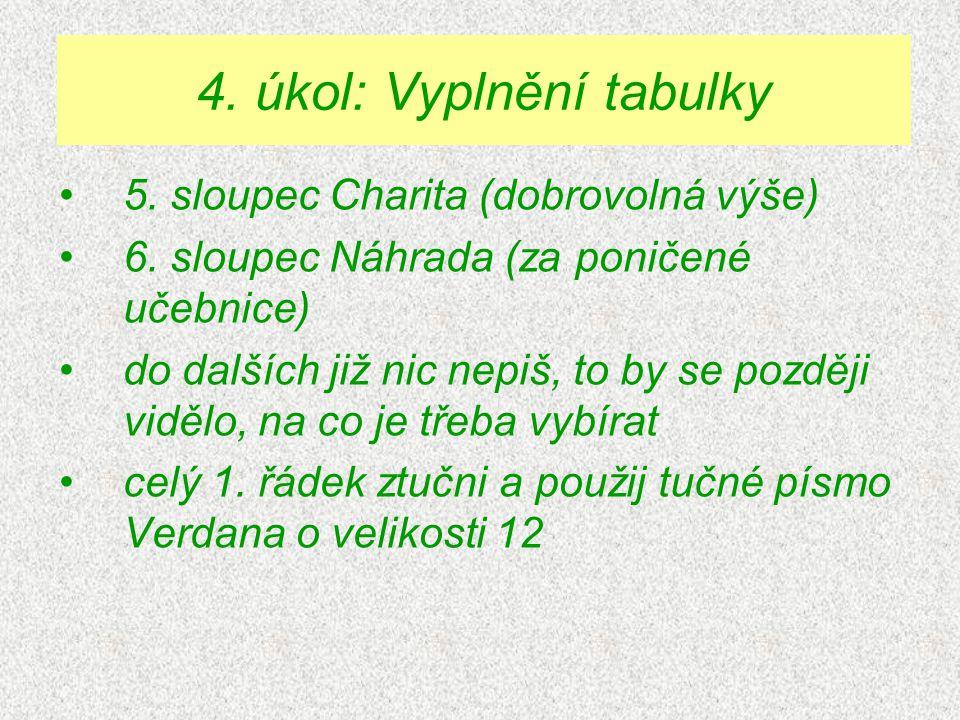 5. sloupec Charita (dobrovolná výše) 6.
