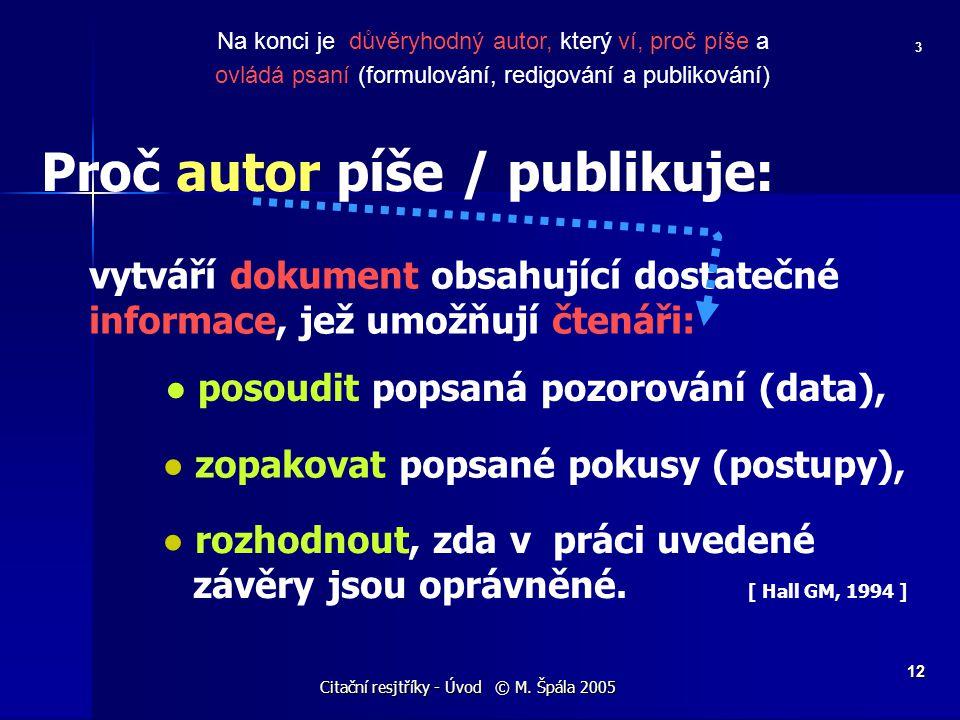 Citační resjtříky - Úvod © M. Špála 2005 12 Na konci je důvěryhodný autor, který ví, proč píše a ovládá psaní (formulování, redigování a publikování)